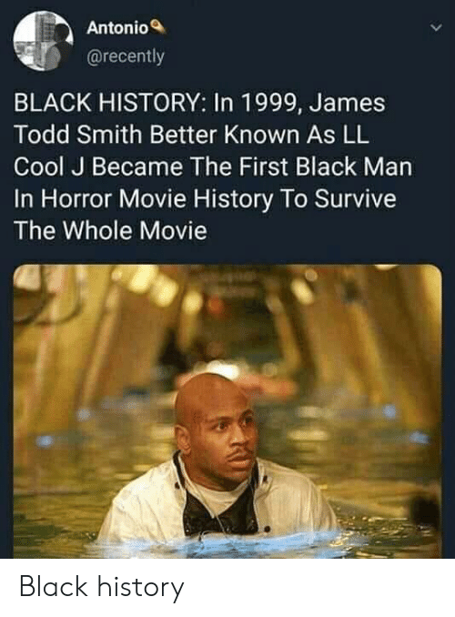 Antonio: Antonio  @recently  BLACK HISTORY: In 1999, James  Todd Smith Better Known As LL  Cool J Became The First Black Man  In Horror Movie History To Survive  The Whole Movie Black history