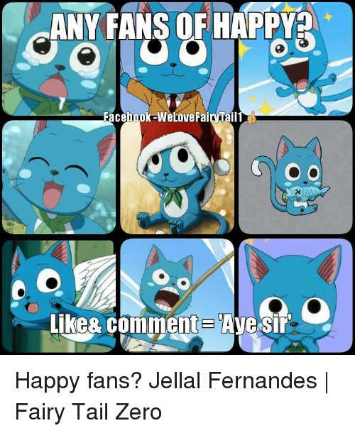 Facebook, Memes, and Zero: ANY FANS OF HAPPY  Facebook -WeLoveFairTail1  Like& Comment  Ayesir Happy fans?  Jellal Fernandes | Fairy Tail Zero