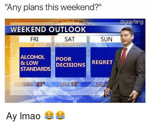 "weekender: ""Any plans this weekend?""  drgrayfang  WEEKEND OUTLOOK  FRI  SAT  SUN  ALCOHOL POOR  8 LOW  STANDARDS DECISIONS REGRET  Low 62 Ay lmao 😂😂"