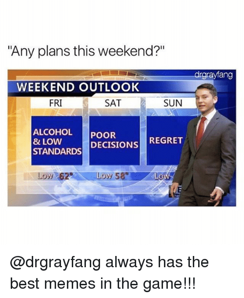 "weekender: ""Any plans this weekend?""  drgrayfang  WEEKEND OUTLOOK  FRI  SAT  SUN  ALCOHOL POOR  & LOW  STANDARDS DECISIONS REGRET  Low 62  0 @drgrayfang always has the best memes in the game!!!"