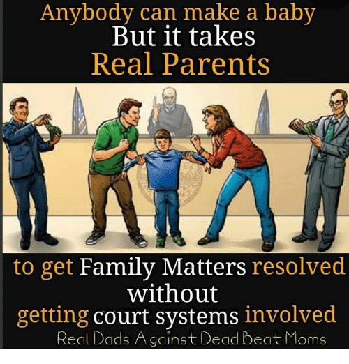 courting: Anybody can make a baby  But it takes  Real Parents  to get Family Matters resolved  without  getting court systems involved  Real Dads Against Dead Beat Moms
