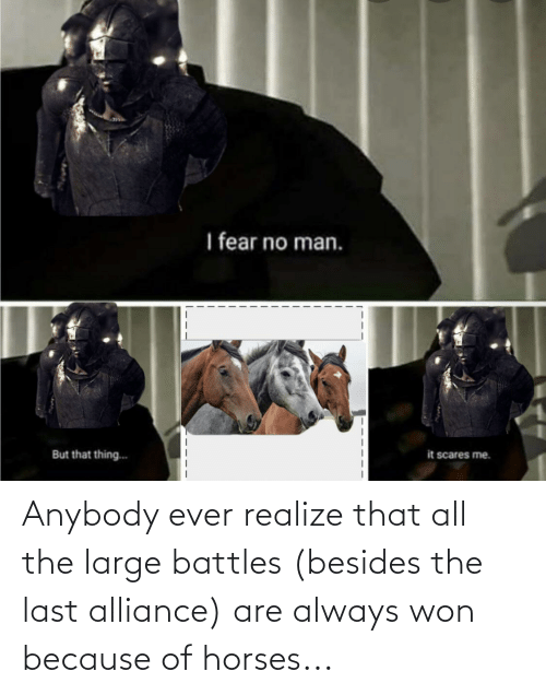 Because Of: Anybody ever realize that all the large battles (besides the last alliance) are always won because of horses...