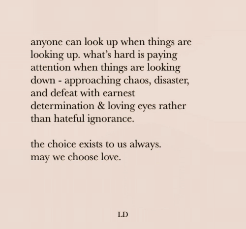 Love, Ignorance, and Looking: anyone can look up when things are  looking up. what's hard is paying  attention when things  down approaching chaos, disaster,  and defeat with earnest  looking  are  determination & loving eyes rather  than hateful ignorance.  the choice exists to us always  may we choose love  LD