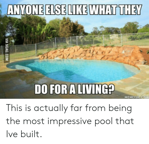 Most Impressive: ANYONEELSELIKE WHAT THEY  DO FOR ALIVING?  MEMEFUE COM This is actually far from being the most impressive pool that Ive built.