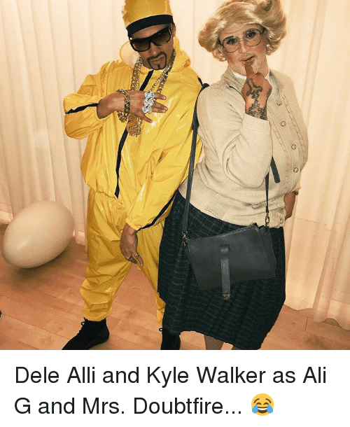 ali g: ao Dele Alli and Kyle Walker as Ali G and Mrs. Doubtfire... 😂
