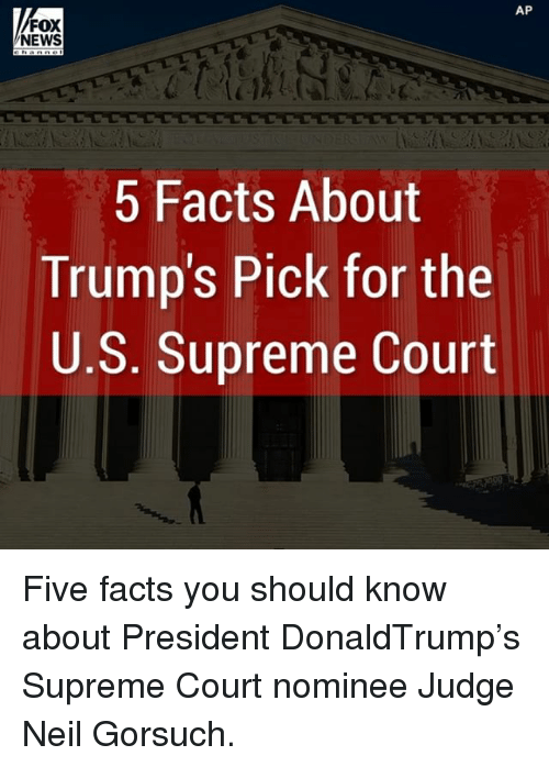supreme-court-nominee: AP  FOX  NEWS  5 Facts About  Trump's Pick for the  U.S. Supreme Court Five facts you should know about President DonaldTrump's Supreme Court nominee Judge Neil Gorsuch.