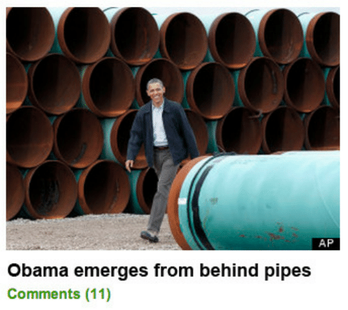 Obama, Comments, and Pipes: AP  Obama emerges from behind pipes  Comments (11)