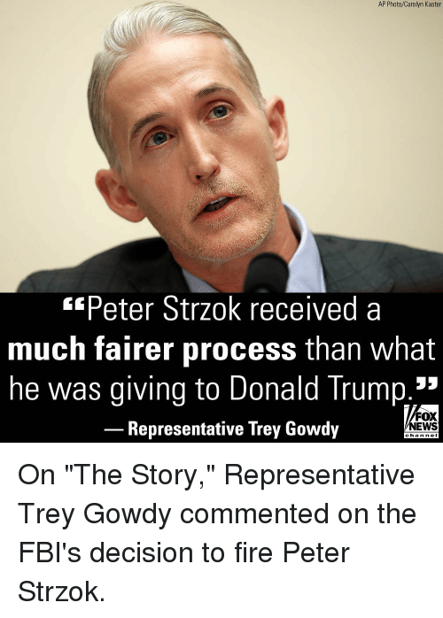 "Donald Trump, Fire, and Memes: AP Photo/Carolyn Kaster  *Peter Strzok received a  much fairer process than what  he was giving to Donald Trump.3  FOX  NEWS  Representative Irey Gowdy  chan neI On ""The Story,"" Representative Trey Gowdy commented on the FBI's decision to fire Peter Strzok."