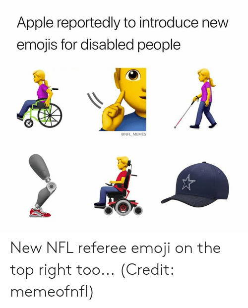 Apple, Emoji, and Memes: Apple reportedly to introduce new  emojis for disabled people  @NFL MEMES New NFL referee emoji on the top right too... (Credit: memeofnfl)