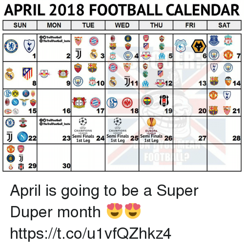 APRIL 2018 FOOTBALL CALENDAR SUN MON TUE WED THU FRI SAT