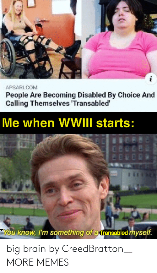 Me When: APSARI.COM  People Are Becoming Disabled By Choice And  Calling Themselves 'Transabled'  Me when WWIII starts:  480  ED  You know, I'm something of a ransabled myself. big brain by CreedBratton__ MORE MEMES