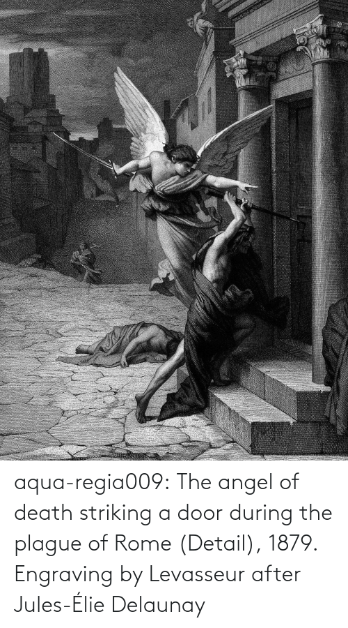 Angel: aqua-regia009:   The angel of death striking a door during the plague of Rome   (Detail), 1879.  Engraving by Levasseur after  Jules-Élie Delaunay