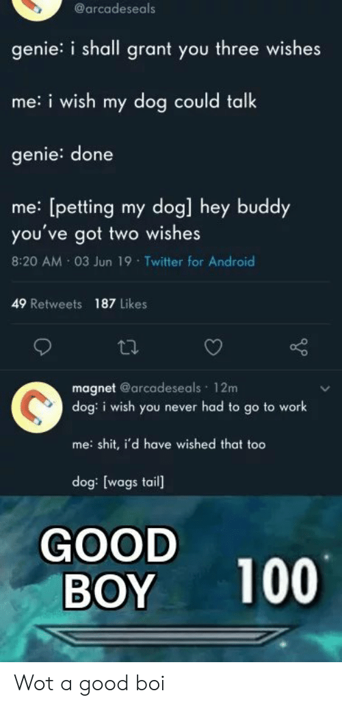 magnet: @arcadeseals  genie: i shall grant you three wishes  me:i wish my dog could talk  genie: done  me: [petting my dog] hey buddy  you've got two wishes  8:20 AM 03 Jun 19 Twitter for Android  49 Retweets 187 Likes  magnet @arcadeseals 12m  dog: i wish you never had to go to work  me: shit, i'd have wished that too  dog: [wags tail]  GOOD  BOY  100 Wot a good boi