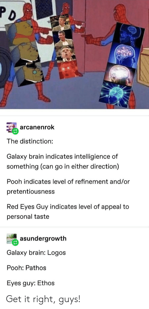 Brain, Logos, and Personal: arcanenrok  The distinction:  Galaxy brain indicates intelligience of  something (can go in either direction)  Pooh indicates level of refinement and/or  pretentiousness  Red Eyes Guy indicates level of appeal to  personal taste  asundergrowth  Galaxy brain: Logos  Pooh: Pathos  Eyes guy: Ethos Get it right, guys!