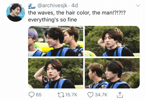 Waves, Hair, and Color: @archivesjk 4d  the waves, the hair color, the man!?!?!?  everything's so fine  L15.7K  65  34.7K
