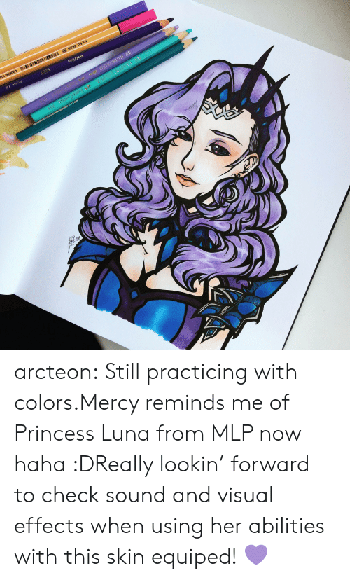 Tumblr, Blog, and Princess: arcteon:  Still practicing with colors.Mercy reminds me of   Princess Luna from MLP now haha :DReally lookin' forward to check sound and visual effects when using her abilities with this skin equiped! 💜