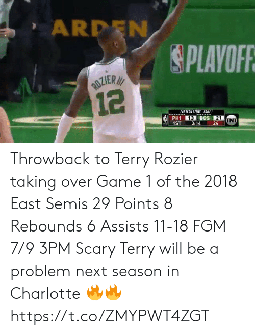 Charlotte: ARDEN  PLAVOFR  EASTERN SENIS BANE  13  21  1ST3:1424 Throwback to Terry Rozier taking over Game 1 of the 2018 East Semis  29 Points 8 Rebounds 6 Assists 11-18 FGM 7/9 3PM  Scary Terry will be a problem next season in Charlotte 🔥🔥 https://t.co/ZMYPWT4ZGT