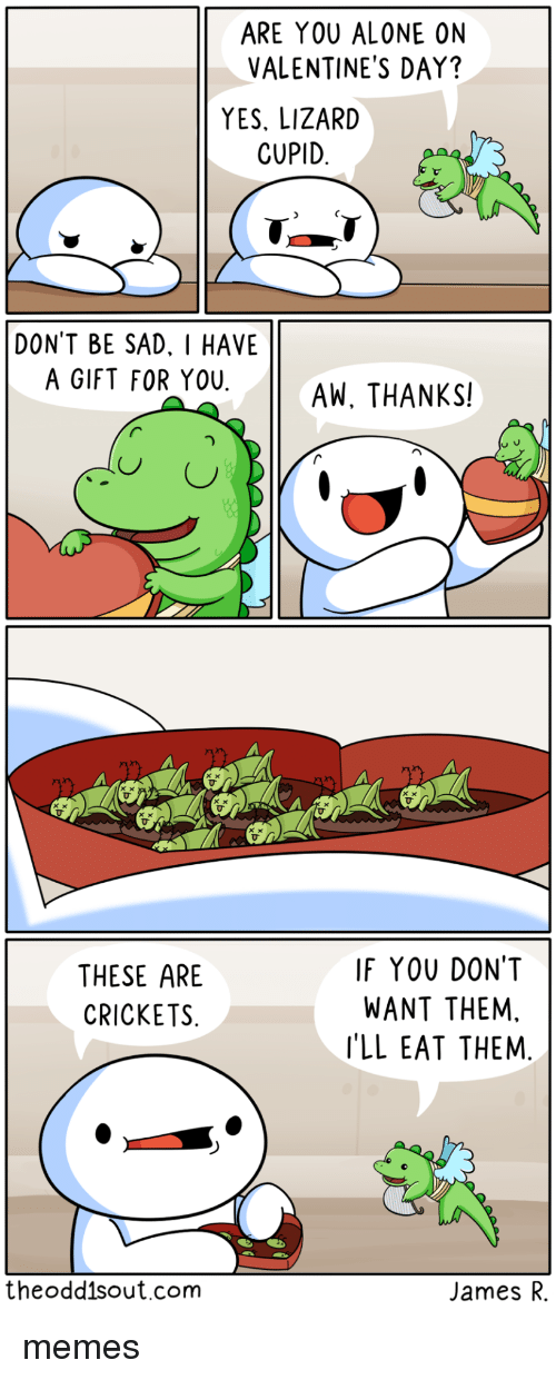 Alone On Valentines Day: ARE YOU ALONE ON  VALENTINE'S DAY?  YES, LIZARD  CUPID  DONT BE SAD. I HAVE  A GIFT FOR YOUAW, THANKS!  THESE ARE  CRICKETS  IF YOU DONT  WANT THEM,  'LL EAT THEM  theodd1sout.com  James R. memes