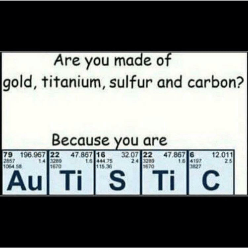 sulfur: Are you made of  gold, titanium, sulfur and carbon?  Because you are  79 196.967 22 47.867 1632.07 22 47.867 61  857  1064 58  14 3289  670  16 444 75  115.36  197  827  12.011  2 5  670  Au Ti S TiC
