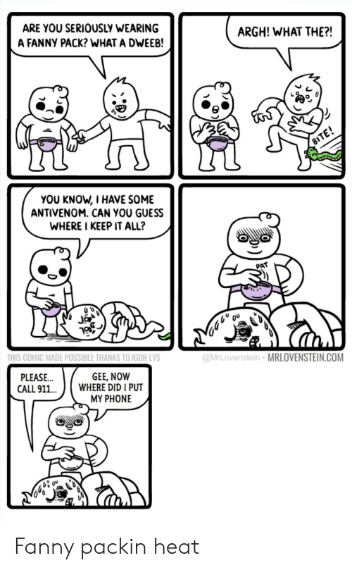 fanny: ARE YOU SERIOUSLY WEARING  A FANNY PACK? WHAT A DWEEB!  ARGH! WHAT THE?!  YOU KNOW, I HAVE SOME  ANTIVENOM. CAN YOU GUESS  WHERE I KEEP IT ALL?  PAT  THIS COMIC MADE POSSIBLE THANKS TO IGOR LYS  @MrLovenstein MRLOVENSTEIN.COM  GEE, NOW  PLEASE  CALL 911.WHERE DID I PUT  MY PHONE Fanny packin heat