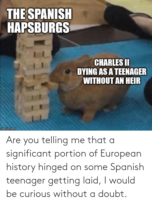 Telling: Are you telling me that a significant portion of European history hinged on some Spanish teenager getting laid, I would be curious without a doubt.