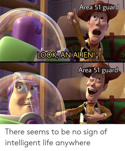 Dank, Life, and Alien: Area 51 guard  LOOK, AN ALIEN!  Area 51 guard There seems to be no sign of intelligent life anywhere