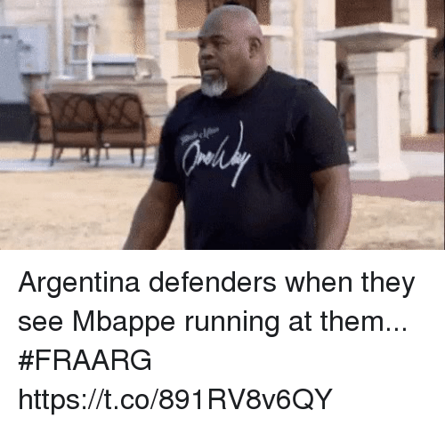 Soccer, Argentina, and Running: Argentina defenders when they see Mbappe running at them... #FRAARG https://t.co/891RV8v6QY