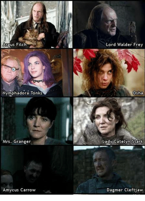 osha: Argus Filch  Nymphadora Tonks  Mrs. Granger  Amy cus Carrow  Lord Walder Frey  Osha  Lady Catelyn Stark  Dagmer Cleft jaw