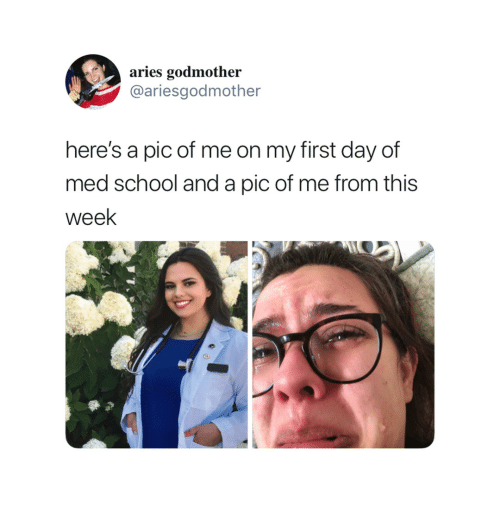 Pic Of Me: aries godmother  @ariesgodmother  here's a pic of me on my first day of  med school and a pic of me from this  week