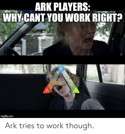 players: ARK PLAYERS:  WHY CANT YOU WORK RIGHT?  imgflip.com Ark tries to work though.