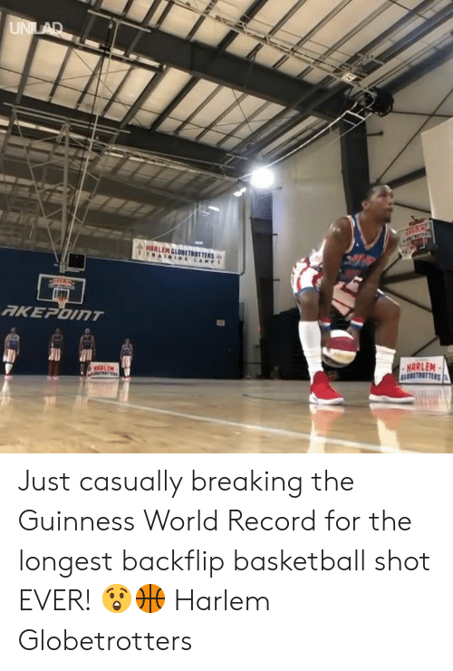 Basketball, Dank, and Record: ARLEM  GLOBETROTTER Just casually breaking the Guinness World Record for the longest backflip basketball shot EVER! 😲🏀  Harlem Globetrotters