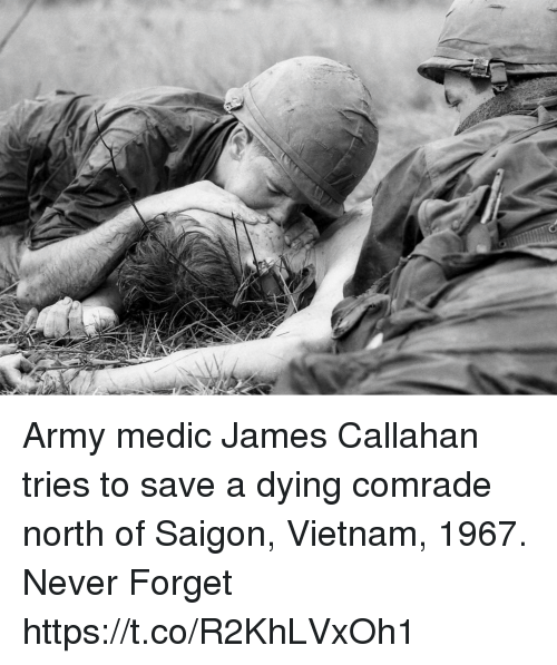 Memes, Army, and Vietnam: Army medic James Callahan tries to save a dying comrade north of Saigon, Vietnam, 1967. Never Forget https://t.co/R2KhLVxOh1