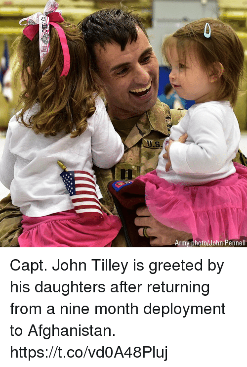 Capt: Army photo/John Pennell Capt. John Tilley is greeted by his daughters after returning from a nine month deployment to Afghanistan. https://t.co/vd0A48Pluj