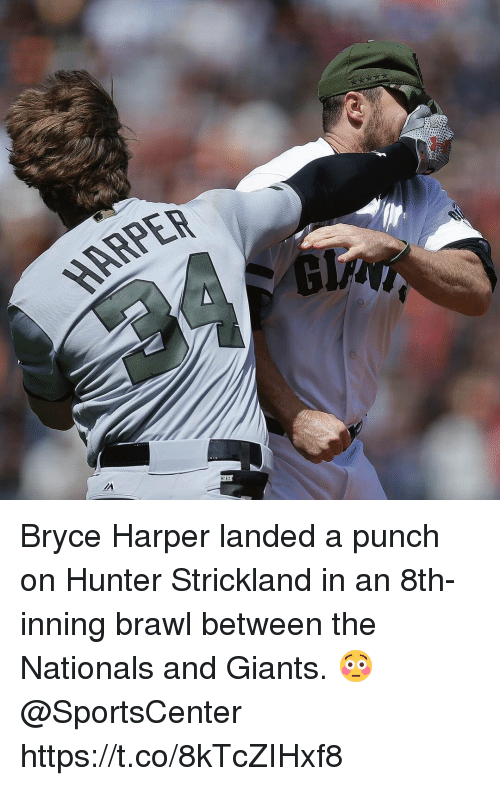 Brawle: ARPER Bryce Harper landed a punch on Hunter Strickland in an 8th-inning brawl between the Nationals and Giants. 😳 @SportsCenter https://t.co/8kTcZIHxf8