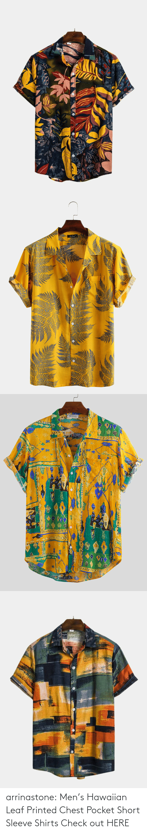 bit.ly: arrinastone: Men's Hawaiian Leaf Printed Chest Pocket Short Sleeve Shirts  Check out HERE