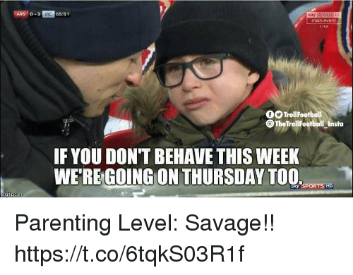 Main Event: ARS 0-3 MC 65:51  slcy Sports Hi  main event  LIVE  fOTrollFootball  O TheTrollFootball Insta  IF YOU DON'T BEHAVE THIS WEEK  WE'REGOING ON THURSDAY TOO  y SPORTS HD Parenting Level: Savage!! https://t.co/6tqkS03R1f