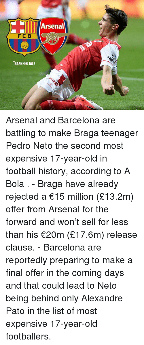 Arsenal, Barcelona, and Football: Arsenal  FCB I  TRANSFER.TALK Arsenal and Barcelona are battling to make Braga teenager Pedro Neto the second most expensive 17-year-old in football history, according to A Bola . - Braga have already rejected a €15 million (£13.2m) offer from Arsenal for the forward and won't sell for less than his €20m (£17.6m) release clause. - Barcelona are reportedly preparing to make a final offer in the coming days and that could lead to Neto being behind only Alexandre Pato in the list of most expensive 17-year-old footballers.