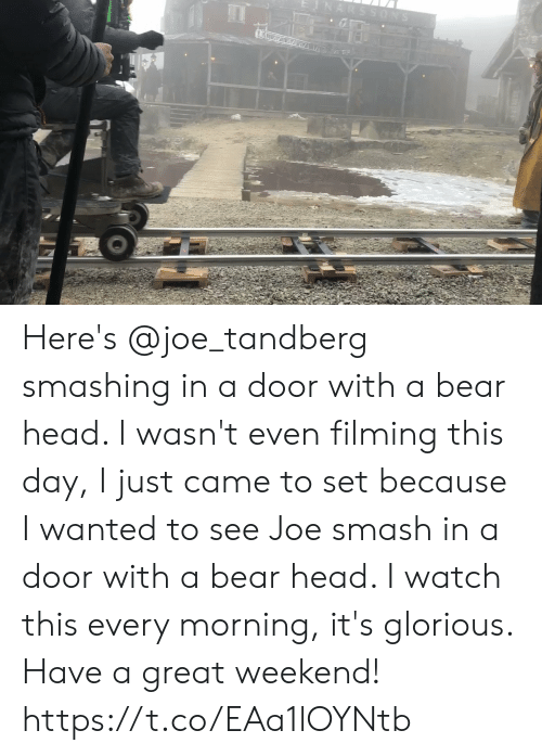 To See: ARSSONS Here's @joe_tandberg smashing in a door with a bear head. I wasn't even filming this day, I just came to set because I wanted to see Joe smash in a door with a bear head. I watch this every morning, it's glorious. Have a great weekend! https://t.co/EAa1lOYNtb