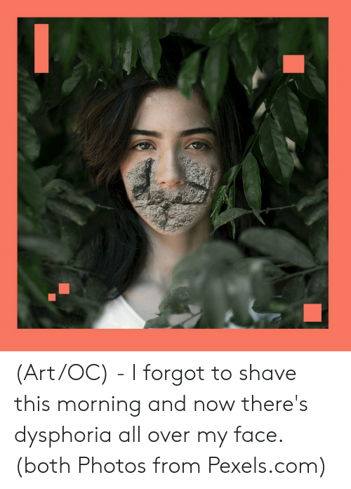 Art, Com, and Photos: (Art/OC) - I forgot to shave this morning and now there's dysphoria all over my face. (both Photos from Pexels.com)