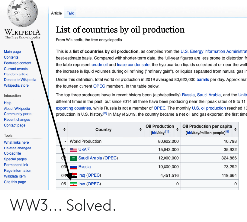 """Compiled: Article Talk  и  List of countries by oil production  WIKIPEDIA  The Free Encyclopedia  From Wikipedia, the free encyclopedia  This is a list of countries by oil production, as compiled from the U.S. Energy Information Administrat  Main page  Contents  best-estimate basis. Compared with shorter-term data, the full-year figures are less prone to distortion fr  Featured content  the table represent crude oil and lease condensate, the hydrocarbon liquids collected at or near the well  Current events  the increase in liquid volumes during oil refining (""""refinery gain""""), or liquids separated from natural gas in  Random article  Under this definition, total world oil production in 2019 averaged 80,622,000 barrels per day. Approximat  Donate to Wikipedia  Wikipedia store  the fourteen current OPEC members, in the table below.  The top three producers have in recent history been (alphabetically) Russia, Saudi Arabia, and the Unite  Interaction  different times in the past, but since 2014 all three have been producing near their peak rates of 9 to 11  Help  exporting countries, while Russia is not a member of OPEC. The monthly U.S. oil production reached 10  production in U.S. history.31 In May of 2019, the country became a net oil and gas exporter, the first time  About Wikipedia  Community portal  Recent changes  Oil Production  (ьыldаy)!1]  Oil Production per capita  (bbl/day/million people)(5]  Contact page  Country  Tools  World Production  80,622,000  10,798  What links here  Related changes  USA[6)  11  15,043,000  35,922  Upload file  