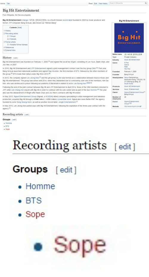 """sope: Article Talk  Read Edit View history Search Wikipedia  Big Hit Entertainment  From Wikipedia, the free encyclopedia  Big Hit Entertainment (Hangul: 빅히트 엔터테인먼트), is a South Korean record label founded in 2005 by music producer and  former JYP composer Bang Si-hyuk, also known as """"Hitman Bang""""  Big Hit Entertainment  Contents hide]  1 History  2 Recording artists  2.1 Groups  2.2 Soloists  3 Former artists  Entertainment  3.1 Notable former trainees  4 References  5 External links  Native name  Type  Industry  Genre  (주) 빅히트 엔터테인 먼트  Private Company  Music & Entertainment  History [edit]  Big Hit Entertainment was founded on February 1, 2005,[3 and signed the vocal trio 8Eight, consisting of Lee Hyun, Baek Chan, and  Joo Hee, in 2007  In 2010, Big Hit Entertainment and JYP Entertainment signed a joint management contract over the boy group 2AM.141 That year  Bang Si-hyuk launched nationwide auditions and signed Rap Monster, the first member of BTS, followed by the other members of  the group.[5 BTS made their debut under Big Hit in 2013.1  In 2012, the company signed Lim Jeong-hee,[1 and the girl group GLAM was formed as a collaboration between Source Music and Headquarters Seoul Gangnam-gu  Big Hit entertainment. The group was active until 2014, when they disbanded due to controversy over one of the members, Kim Da  hee, who was sentenced to prison following accusations of blackmail in relation to actor Lee Byung-hun.[8I9110]  Following the end of the joint contract between Big Hit and JYP Entertainment in April 2014, three of the 2AM members returned to  JYP, while Lee Chang-min stayed with Big Hit in order to continue with his solo career and as part of the duo Homme.41 The year  also saw the disbandment of 8Eight after Baek Chan and Joo Hee's contracts with Big Hit ended  In May 2015, Signal Entertainment Group (Signal), a KOSDAQ-listed company specializing in artist management and television  production, acquired Big Hit through a KR 6 billion (~US$5 millio"""
