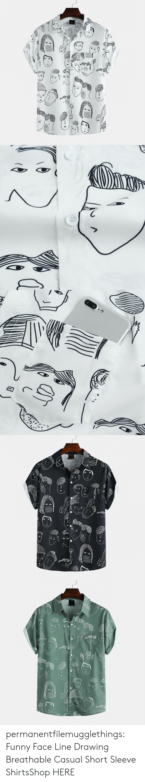Funny, Tumblr, and Blog: as  ८   e4 permanentfilemugglethings:  Funny Face Line Drawing Breathable Casual Short Sleeve ShirtsShop HERE