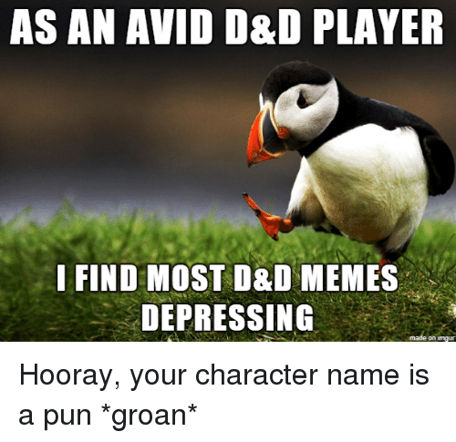 Memes, D&d, and Player: AS AN AVID D&D PLAYER  I FIND MOST D&D MEMES  DEPRESSING  on imqu Hooray, your character name is a pun *groan*