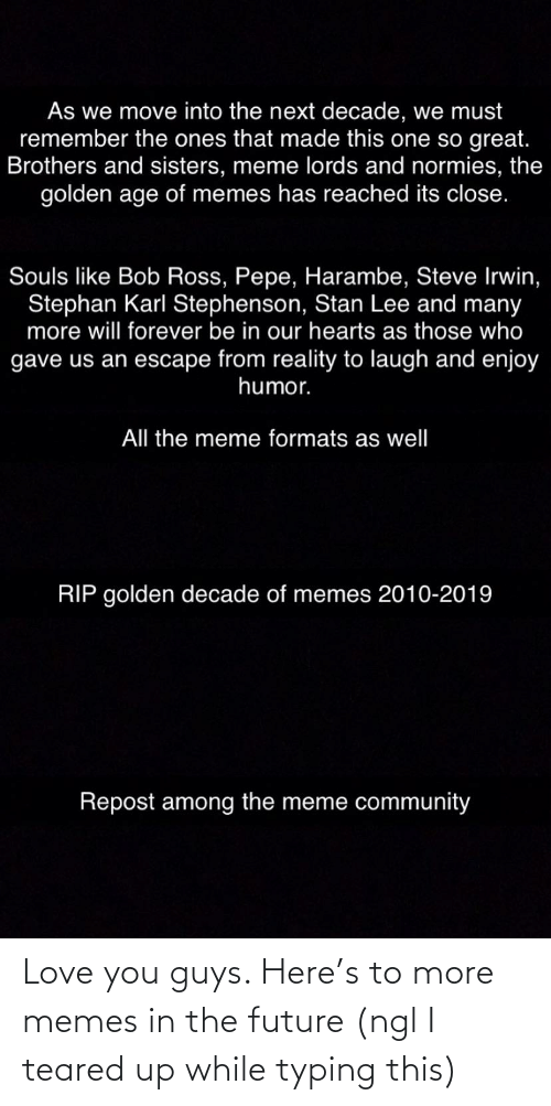 Teared Up: As we move into the next decade, we must  remember the ones that made this one so great.  Brothers and sisters, meme lords and normies, the  golden age of memes has reached its close.  Souls like Bob Ross, Pepe, Harambe, Steve Irwin,  Stephan Karl Stephenson, Stan Lee and many  more will forever be in our hearts as those who  gave us an escape from reality to laugh and enjoy  humor.  All the meme formats as well  RIP golden decade of memes 2010-2019  Repost among the meme community Love you guys. Here's to more memes in the future (ngl I teared up while typing this)