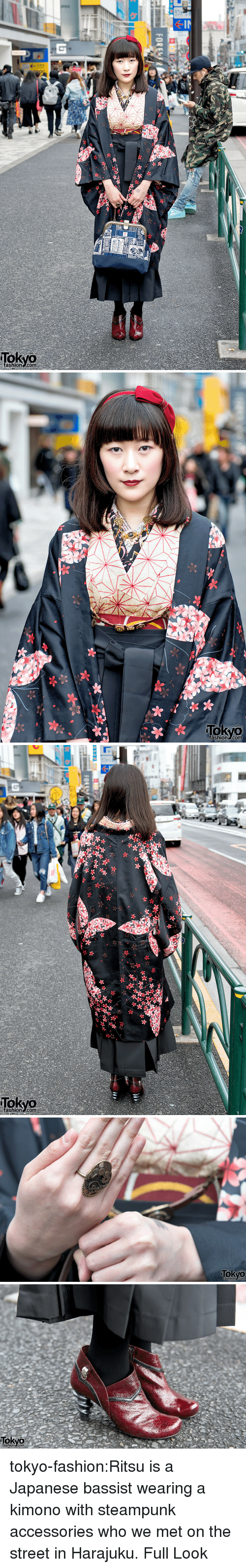 kimono: ashion.com   fashion.com   ashion.com   Tokyo  ashione.com   Tokyo  ashionscomm tokyo-fashion:Ritsu is a Japanese bassist wearing a kimono with steampunk accessories who we met on the street in Harajuku. Full Look