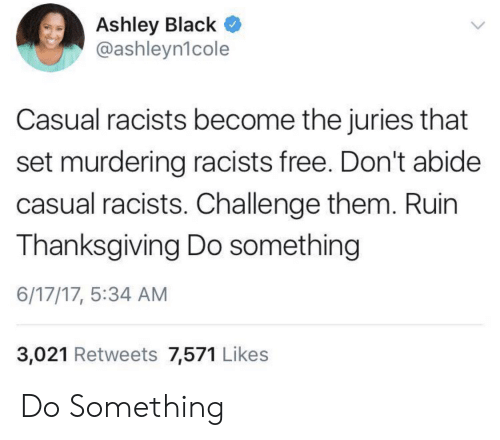 Thanksgiving, Black, and Free: Ashley Black  @ashleyn1cole  Casual racists become the juries that  set murdering racists free. Don't abide  casual racists. Challenge them. Ruin  Thanksgiving Do something  6/17/17, 5:34 AM  3,021 Retweets 7,571 Likes Do Something