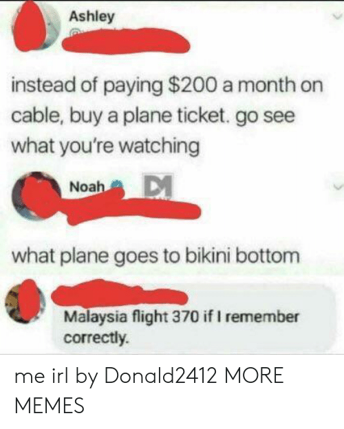Bikini Bottom: Ashley  instead of paying $200 a month on  cable, buy a plane ticket. go see  what you're watching  Noah  what plane goes to bikini bottom  Malaysia flight 370 if I remember  correctly. me irl by Donald2412 MORE MEMES