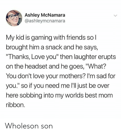 """Friends, Love, and Best: Ashley McNamara  @ashleymcnamara  My kid is gaming with friends sol  brought him a snack and he says,  """"Thanks, Love you"""" then laughter erupts  on the headset and he goes, """"What?  You don't love your mothers? I'm sad for  you."""" so if you need me 'll just be over  here sobbing into my worlds best mom  ribbon. Wholeson son"""