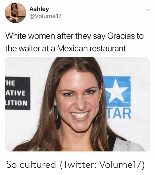 Twitter, Restaurant, and White: Ashley  @Volume17  White women after they say Gracias to  the waiter at a Mexican restaurant  HE  ATIVE  ITION  TAR So cultured (Twitter: Volume17)