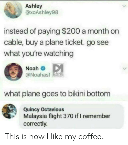 Bikini Bottom: Ashley  @xoAshley98  instead of paying $200 a month on  cable, buy a plane ticket. go see  what you're watching  Noah  @Noahasf DANK  what plane goes to bikini bottom  Quincy Octavious  Malaysia flight 370 if I remember  correctly. This is how I like my coffee.